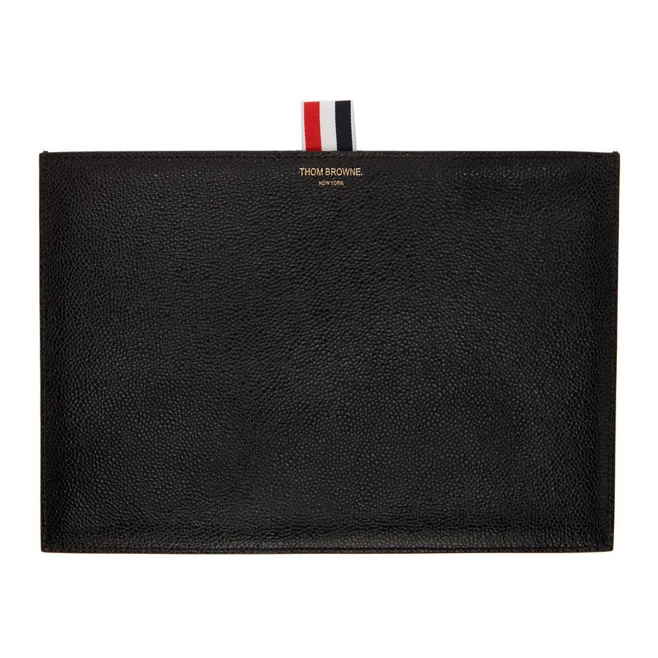 Black Tablet Folio Pouch Thom Browne tsosgKD