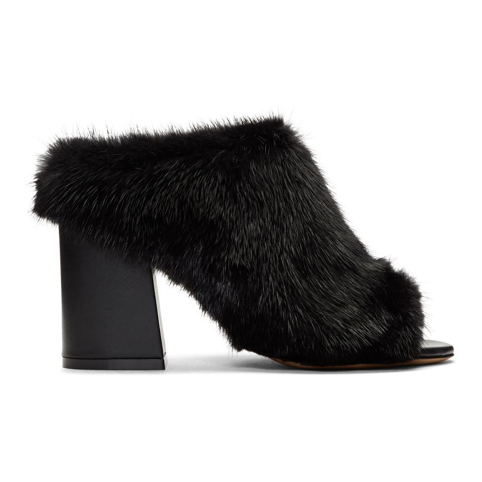 Givenchy Black Fur Paris Mules fNLTap7Wi