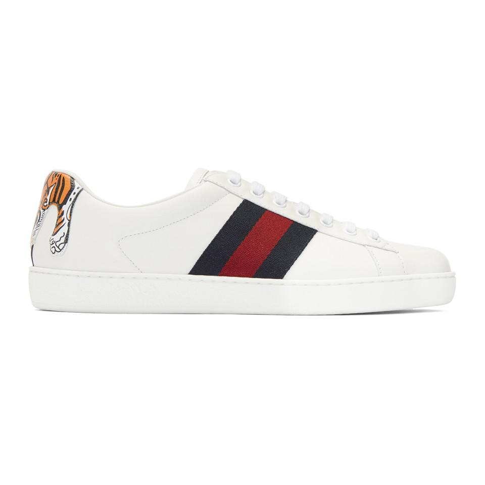 d8b6d2c3ad1 Lyst - Gucci White Tiger Ace Sneakers in White for Men