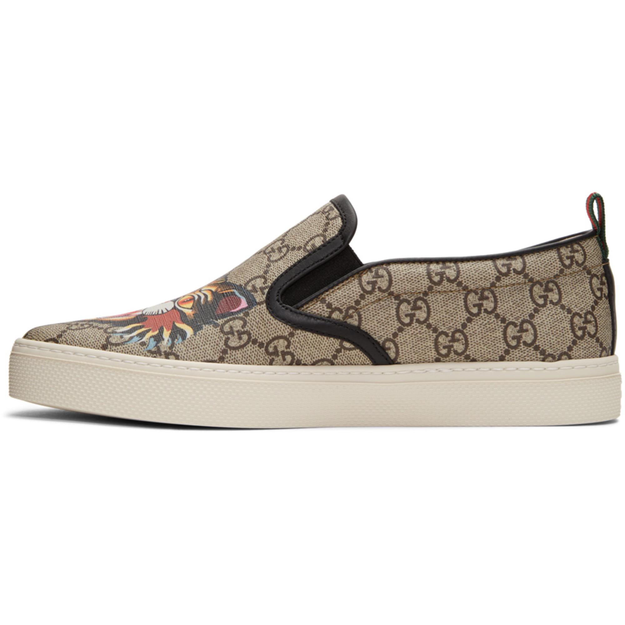 957045a7d8b Lyst - Gucci Beige Gg Supreme Angry Cat Dublin Slip-on Sneakers in ...