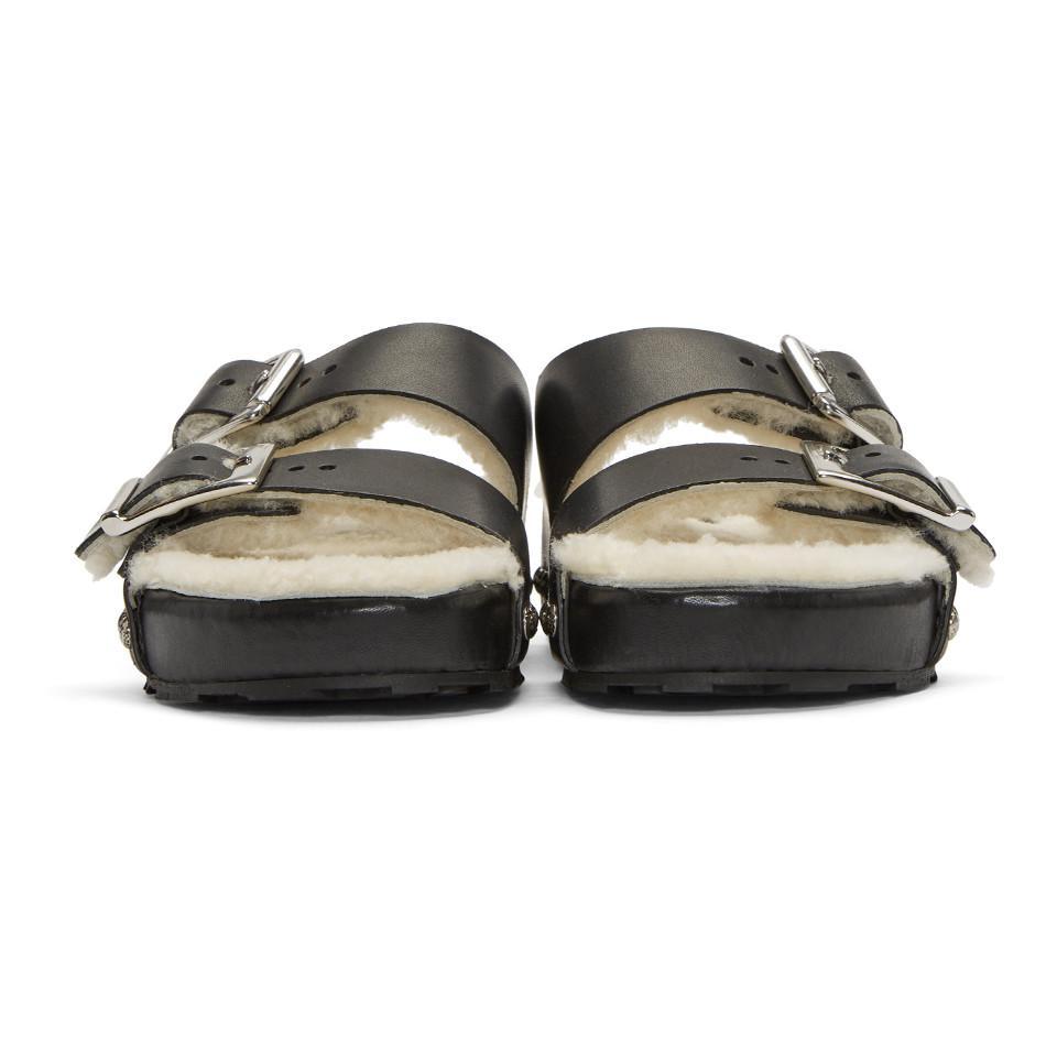 Black and Off-White Shearling Strap Sandals Alexander McQueen j3pQJOVqEz