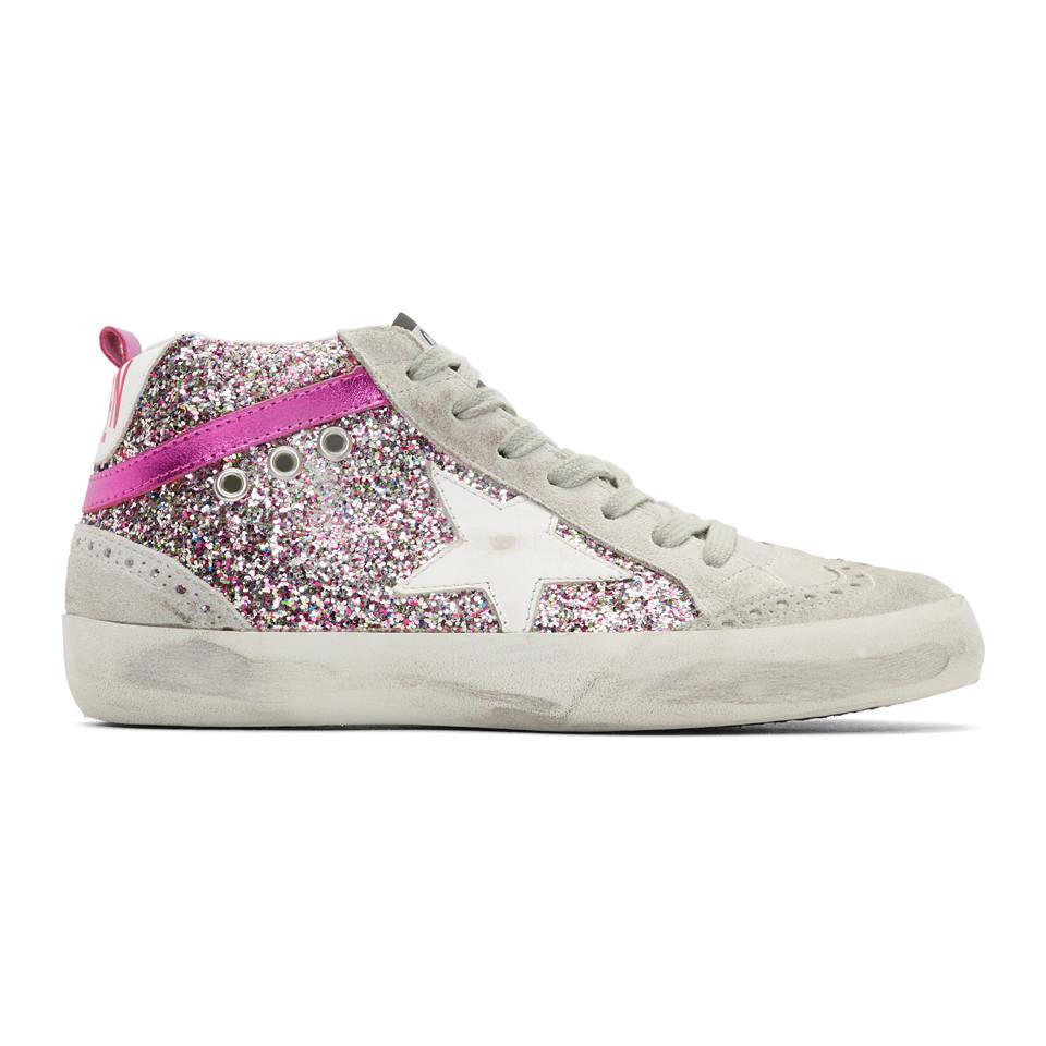 a8bf262c921a Lyst - Golden Goose Deluxe Brand Grey And Pink Glitter Mid Star ...