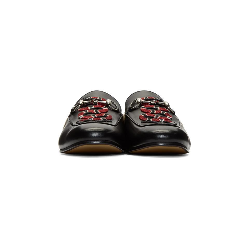 52cc9116078 Gucci - Black Snake Fur Princetown Slippers for Men - Lyst. View fullscreen