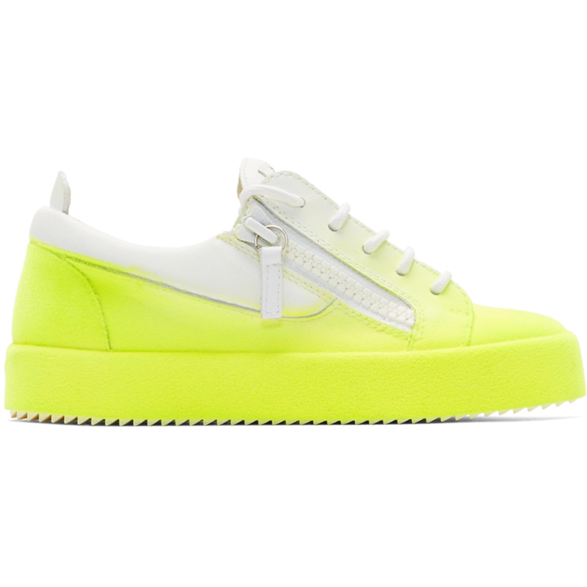 Giuseppe Zanotti White & Yellow Flashy May London Sneakers OQB66uy9co