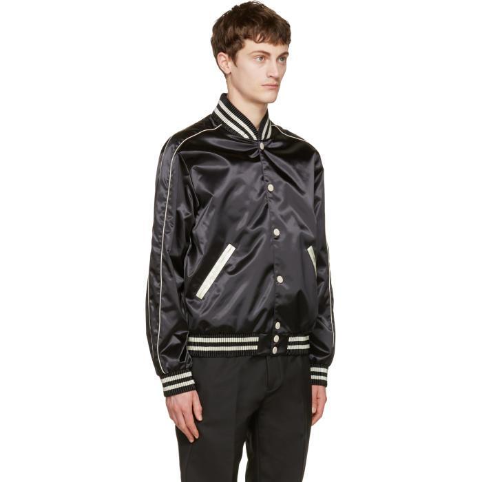 Calvin Klein Satin Bomber Jacket In Black For Men Lyst