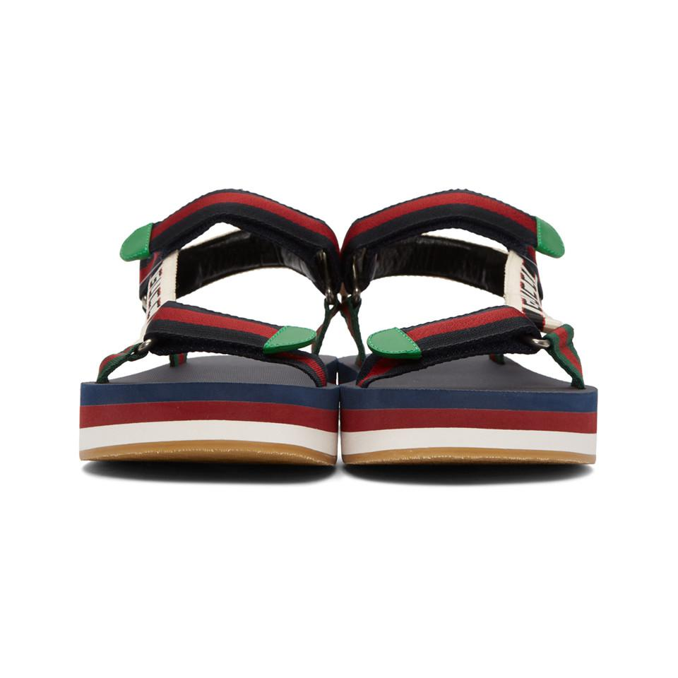 fcb99506fb6290 Gucci - Blue Multicolor Bedlam Sandals for Men - Lyst. View fullscreen