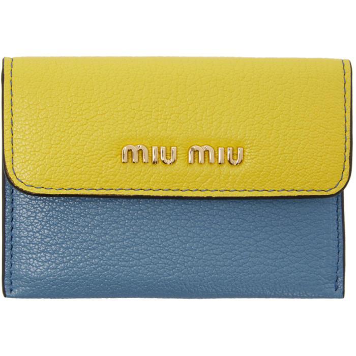 60273731a7b8 Lyst - Miu Miu Tricolor Foldover Wallet in Blue