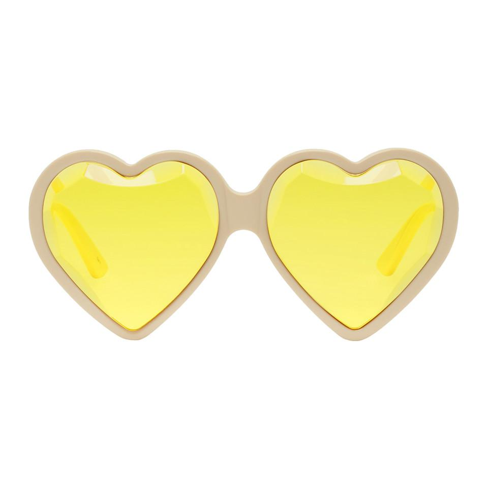 3864b84bab Lyst - Gucci Off-white And Yellow Heart Sunglasses in White