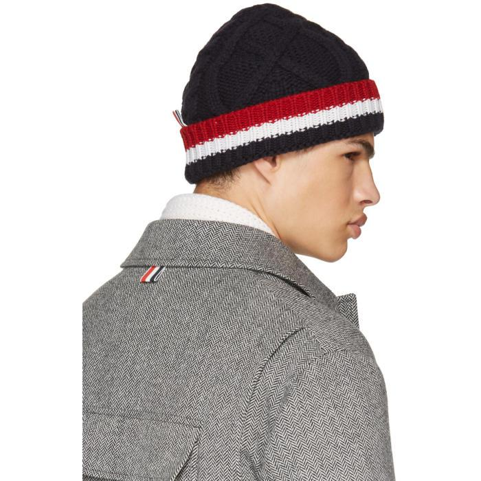 86f9f8a305f Lyst - Thom Browne Navy Aran Cable Beanie in Blue for Men