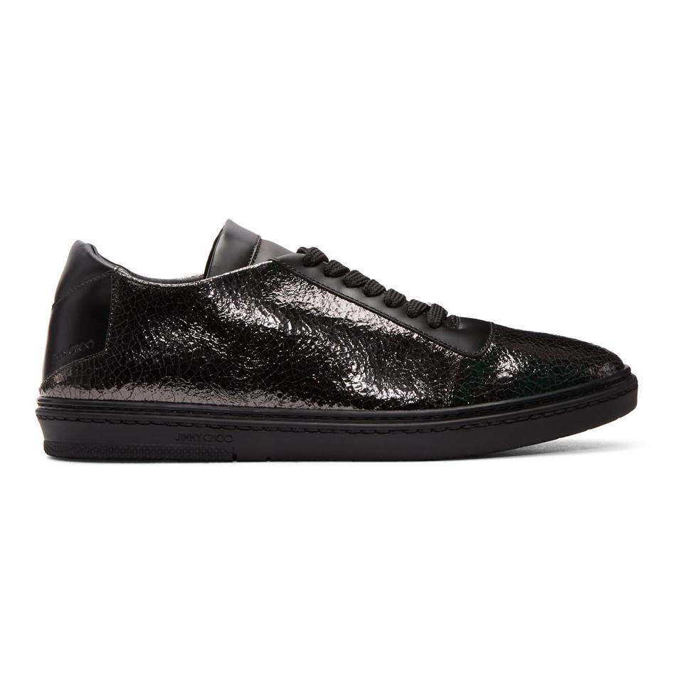 Jimmy Choo Black Crackled Metallic Benn Sneakers Tx6CF