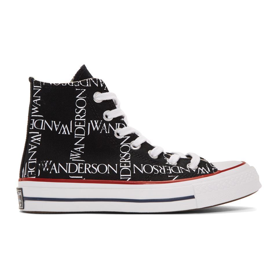 9d8d513ad19162 Lyst - JW Anderson Black Converse Edition Grid Logo Chuck 70 Hi ...