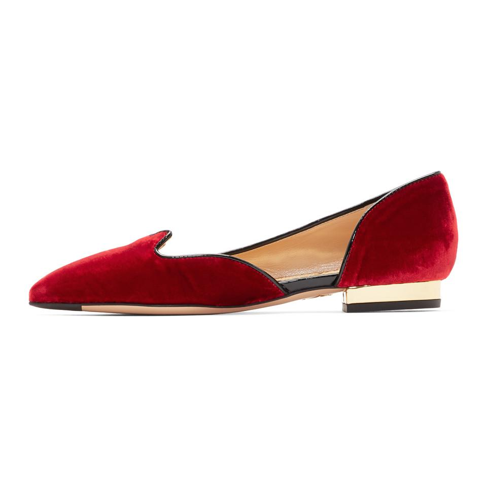 Charlotte Olympia Red Velvet Feline D'Orsay Flats dol3LD2