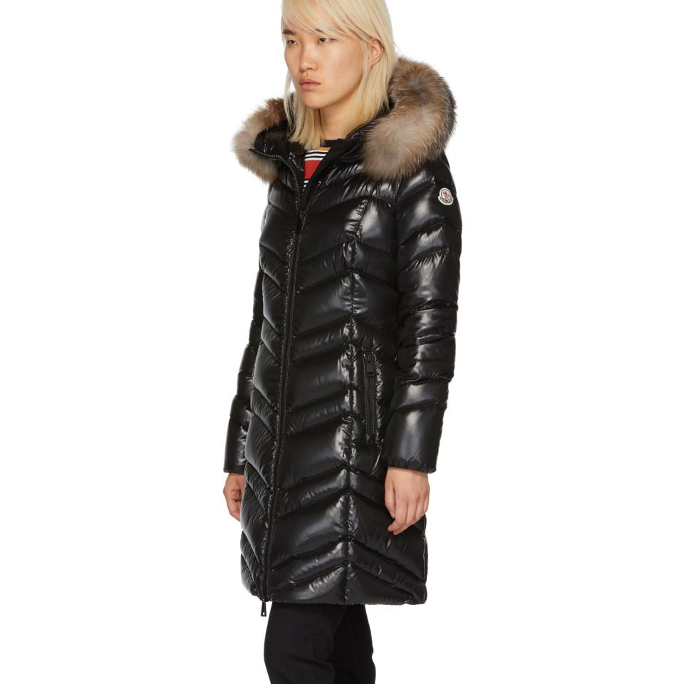 05ca201b9e7e Moncler Black Down And Fur Fulmar Coat in Black - Lyst