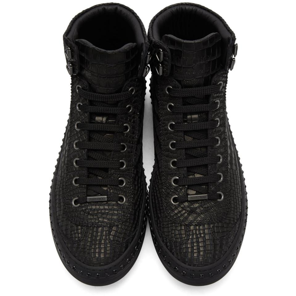 a68455a6631 Lyst - Jimmy Choo Black Croc Crystal Argyle High-top Sneakers in ...