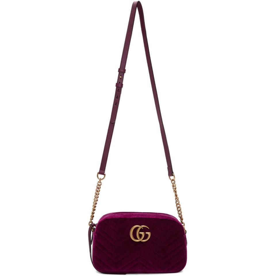 276773eca8a Gucci Purple Velvet Small GG Marmont 2.0 Shoulder Bag in Purple - Lyst