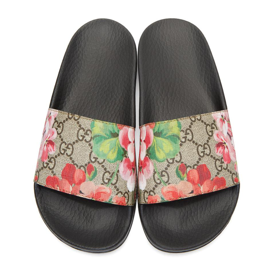 Gucci Multicolor Blooms Supreme Canvas Slides Lyst View Fullscreen