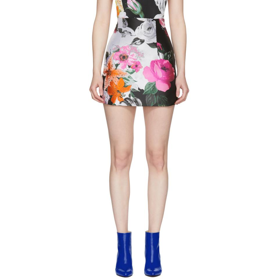 Black and White Floral Jacquard Miniskirt Off-white Cheap With Paypal 0Ai3is3x