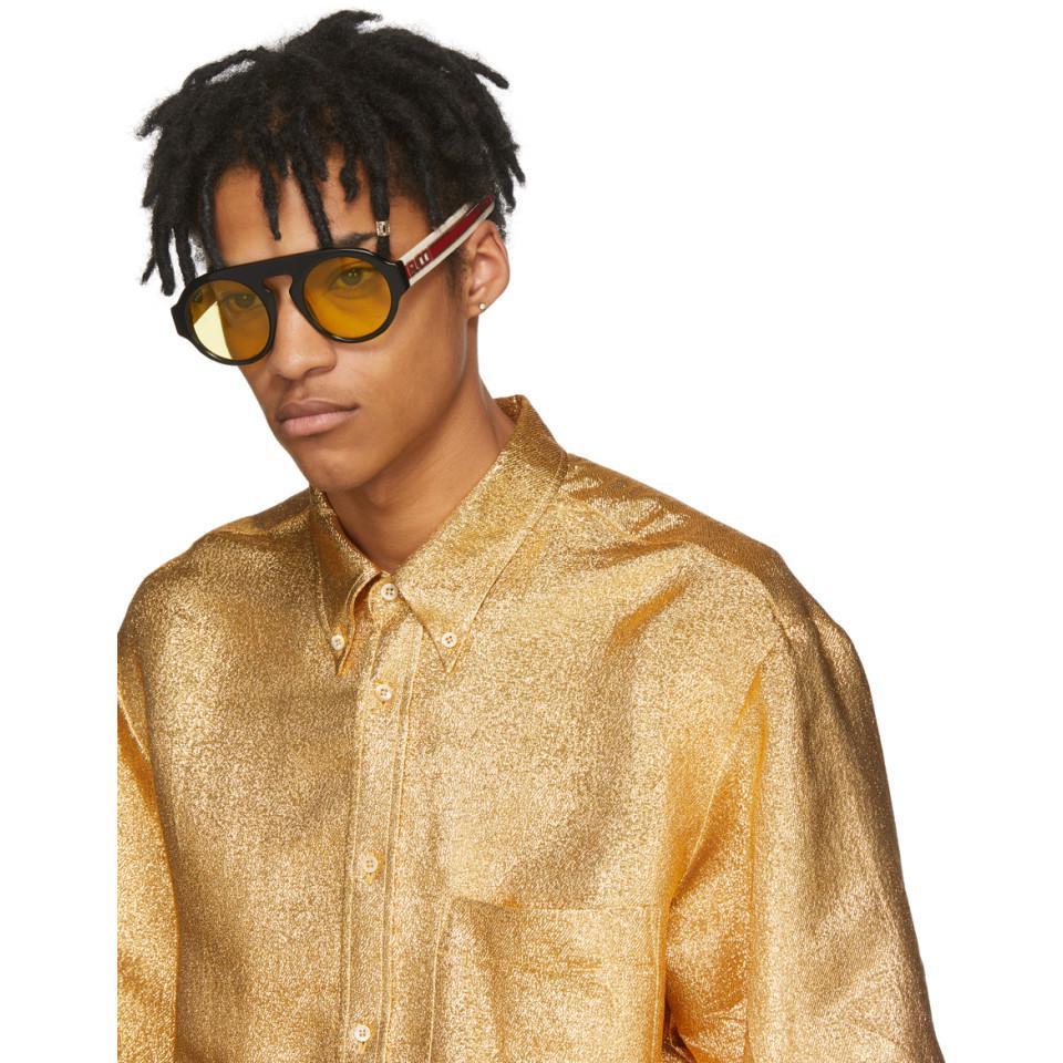 68763b35a4e Gucci - Black Round Sport Sunglasses for Men - Lyst. View fullscreen