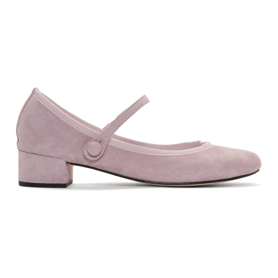 Purple Suede Rose Mary Jane Heels Repetto lVfA8