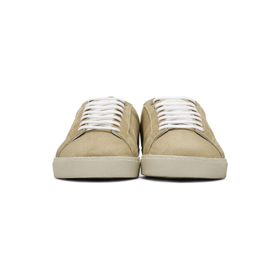 Versace Beige Suede Writing Logo Sneakers QIP33