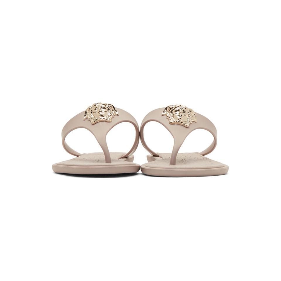 Taupe Rubber Medusa Sandals Versace jEmOKYa