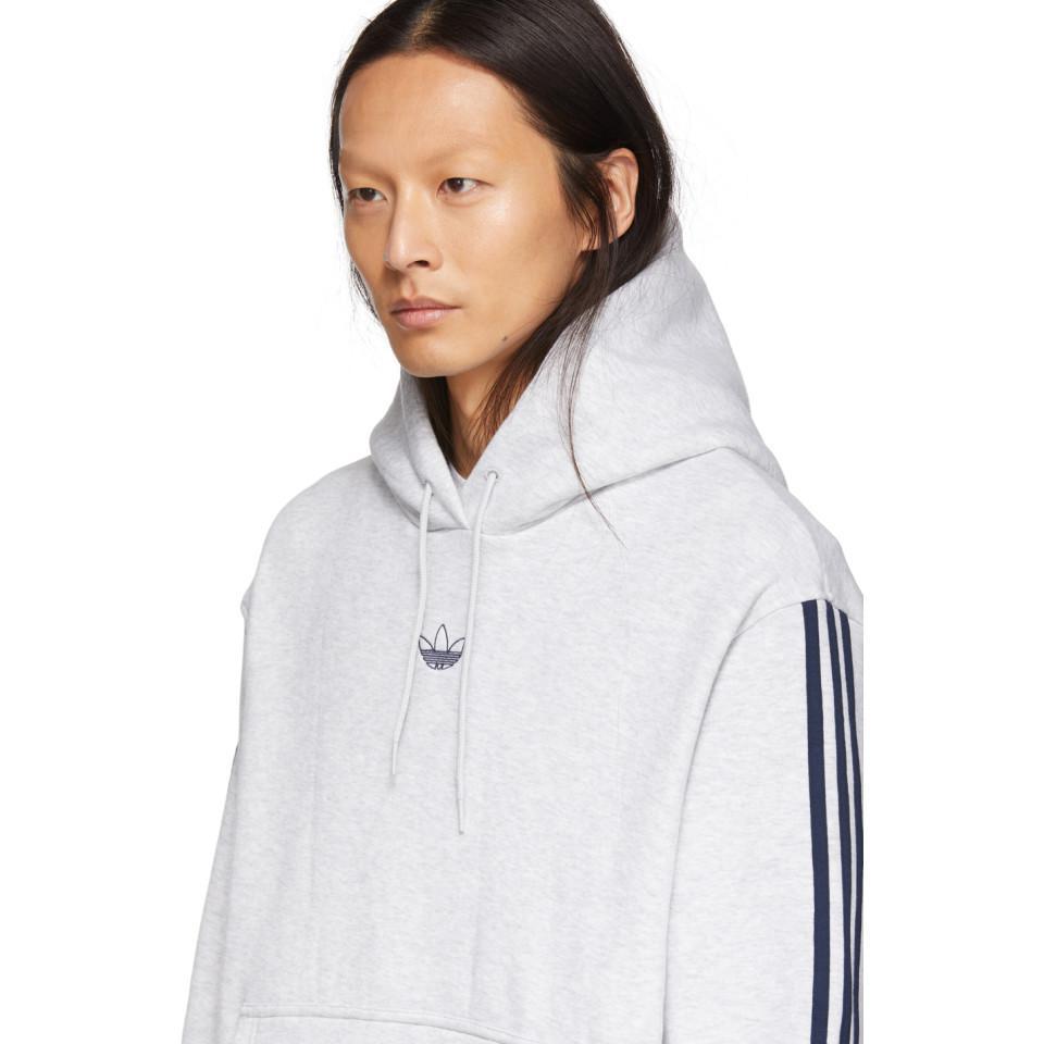 low priced e86fc f685d Adidas Originals - Blue Pull a capuche en molleton gris Court Basketball  for Men - Lyst. Afficher en plein écran