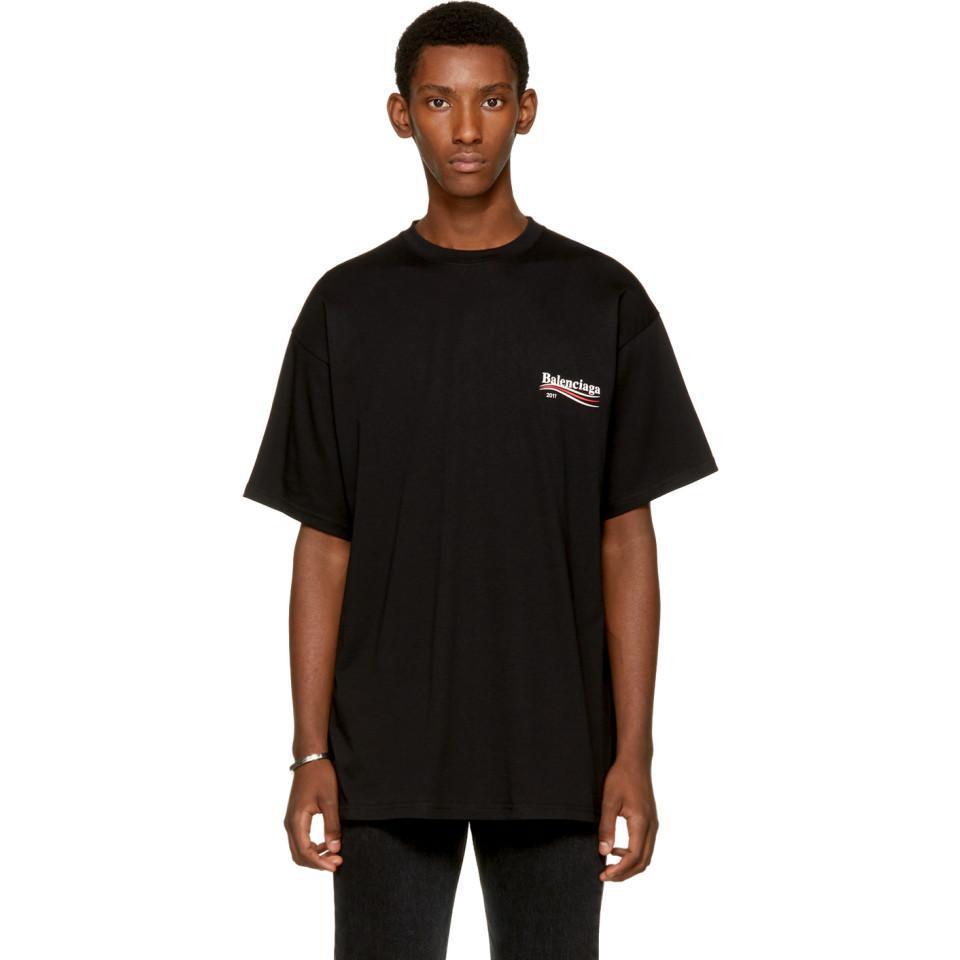 6c5b2bceb2f Balenciaga Black Campaign Logo T-shirt in Black for Men - Lyst