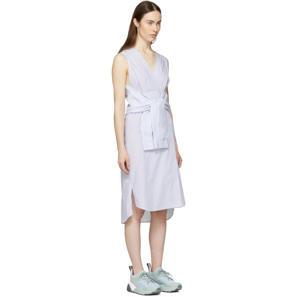 White and Blue Striped Shirting Tie Front Dress Alexander Wang H992J