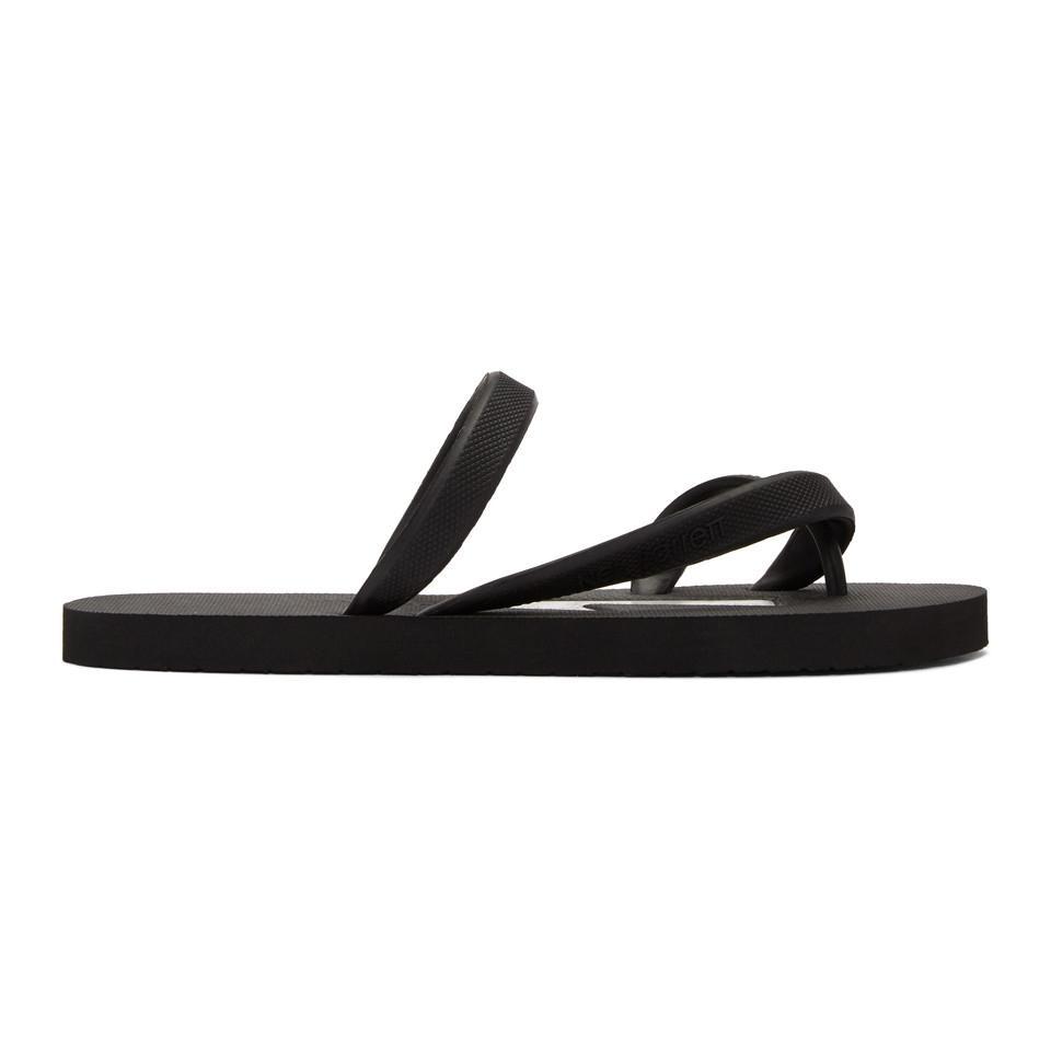 Saint Laurent Black & White Rubber Thunderbolt Sandals o4MhgGc2jT
