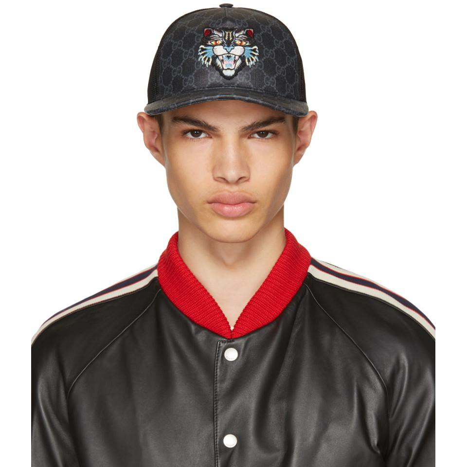f955df93ed2 Gucci Black Angry Cat Gg Supreme Baseball Cap in Black for Men - Lyst
