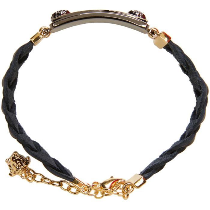 lyst versace black amp gold logo tag bracelet in black for men