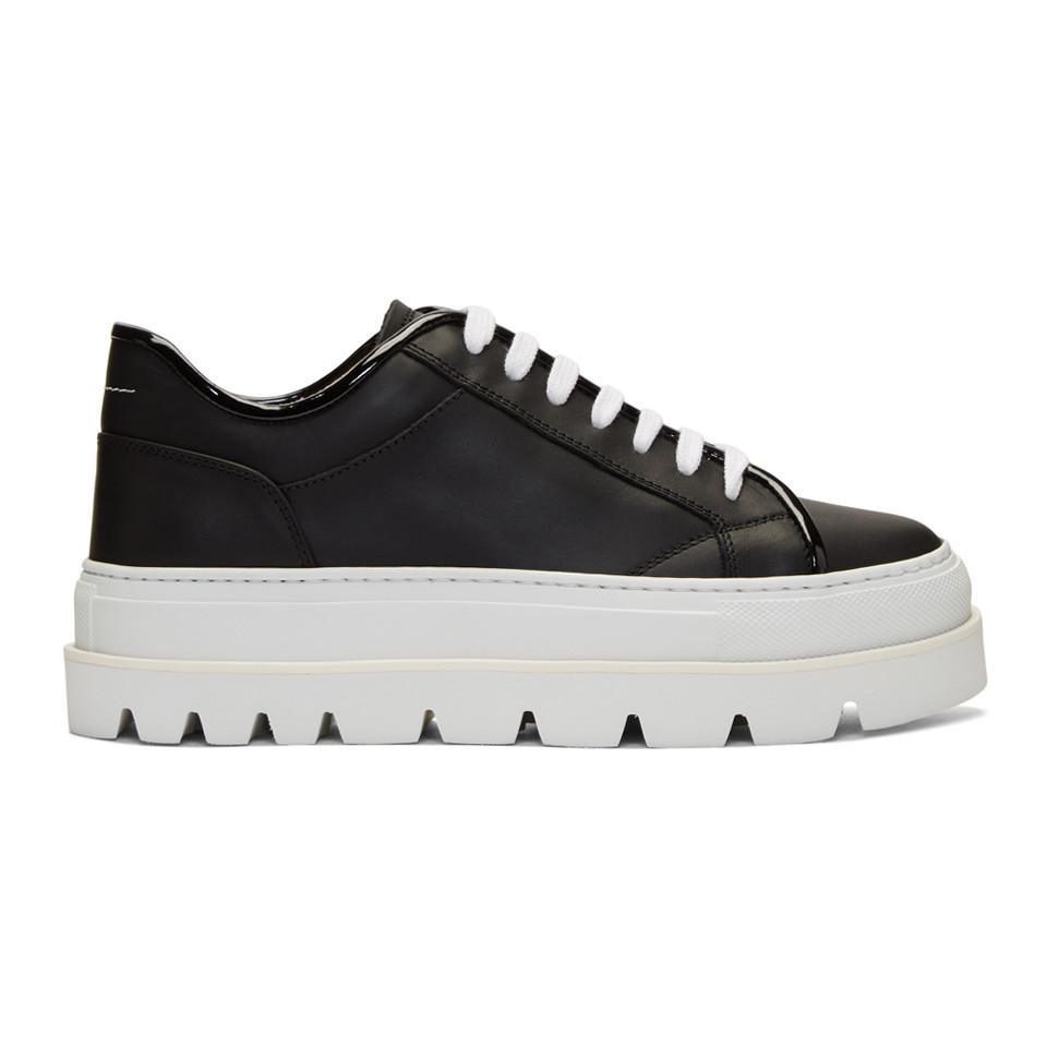 MM6 Maison Martin Margiela Black & White Flatform Sneakers VbUNaQo9I