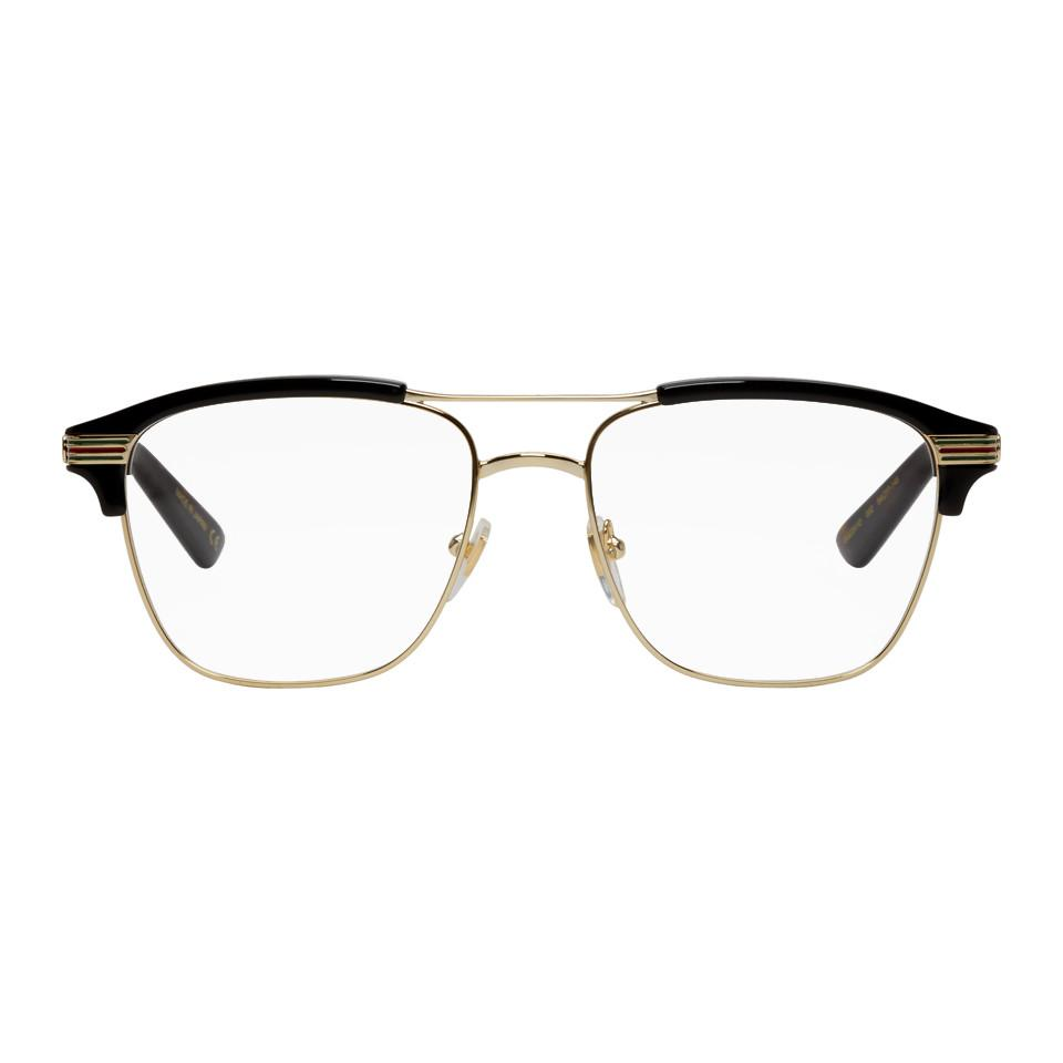 7a226959b89 Lyst - Gucci Gold And Black Square Glasses in Metallic for Men