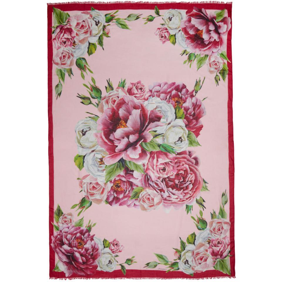 Lyst - Foulard multicolore Peonie Dolce   Gabbana en coloris Rose 8fa49a02054