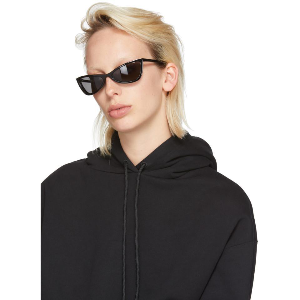 Black Thin Cat-Eye Sunglasses Balenciaga 3D1iT