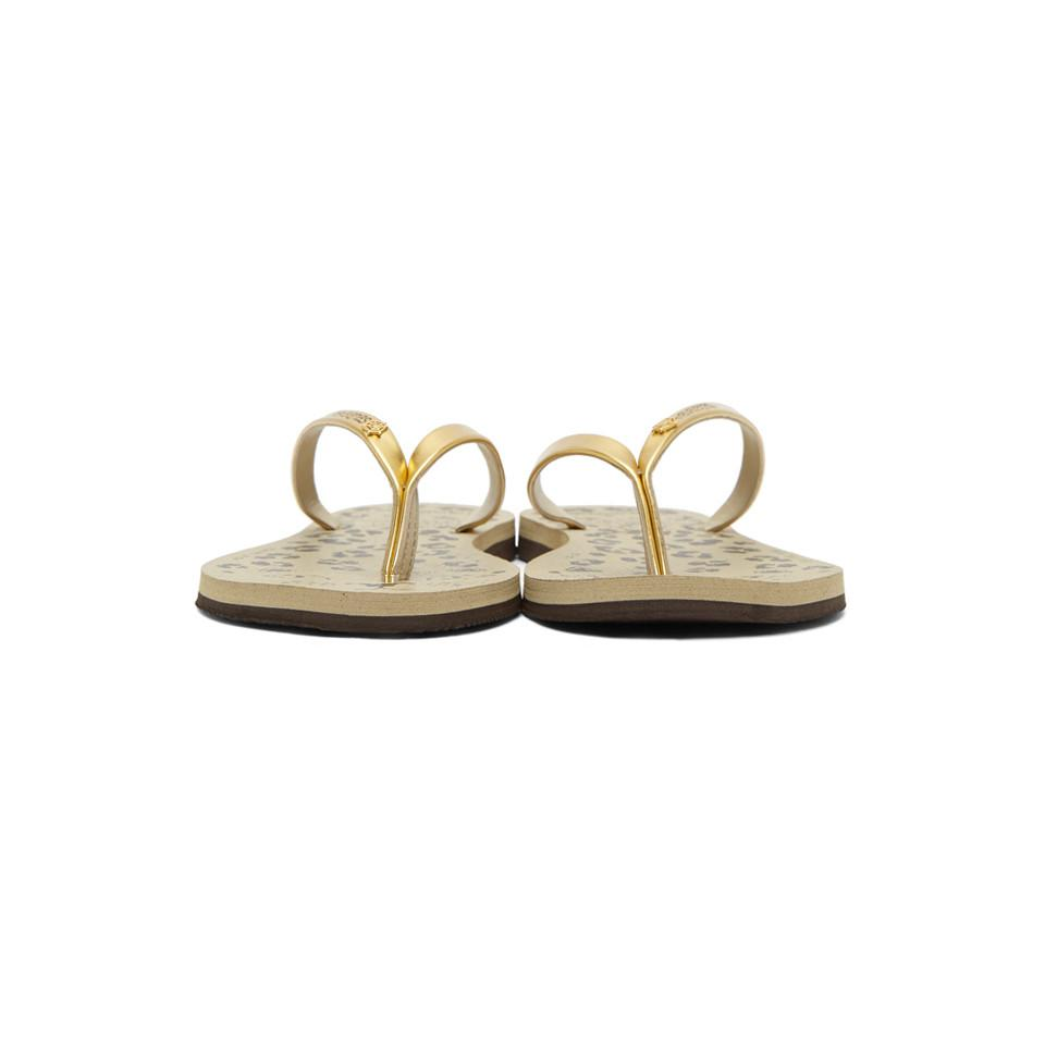 e5af221efb3e Lyst - Charlotte Olympia Beige And Gold Havaianas Edition Kitty Sandals