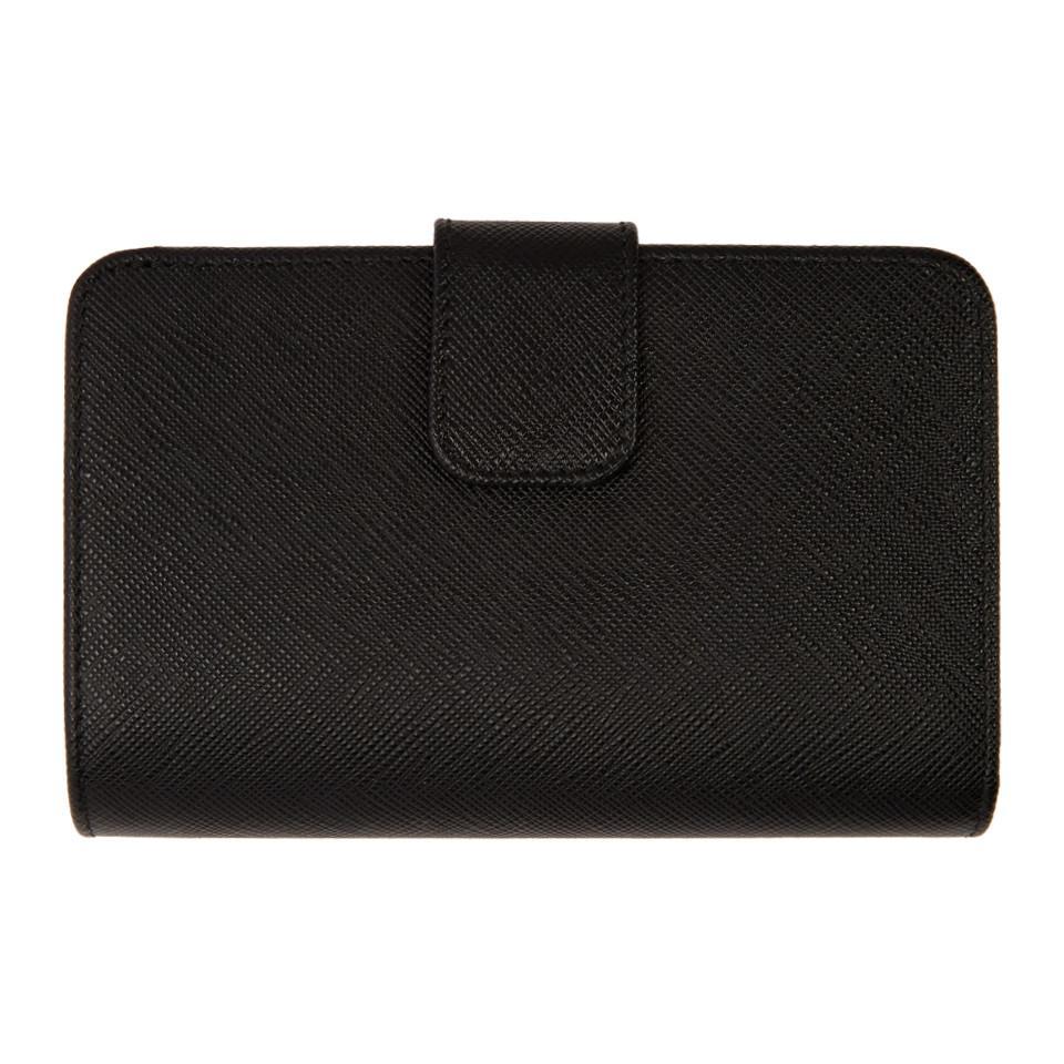 2643bf66d7697e Prada - Black Saffiano Continental Wallet - Lyst. View fullscreen