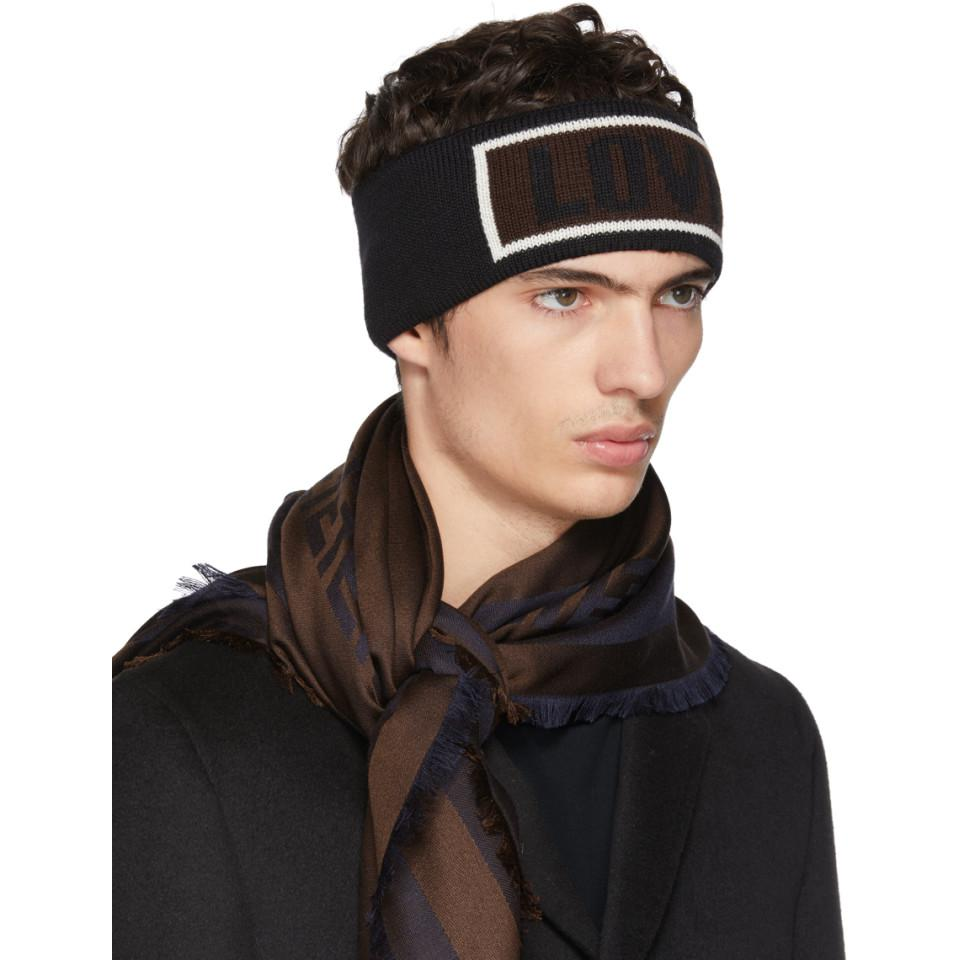 95feac0c1c6202 Fendi Black Love Logo Headband in Black for Men - Lyst