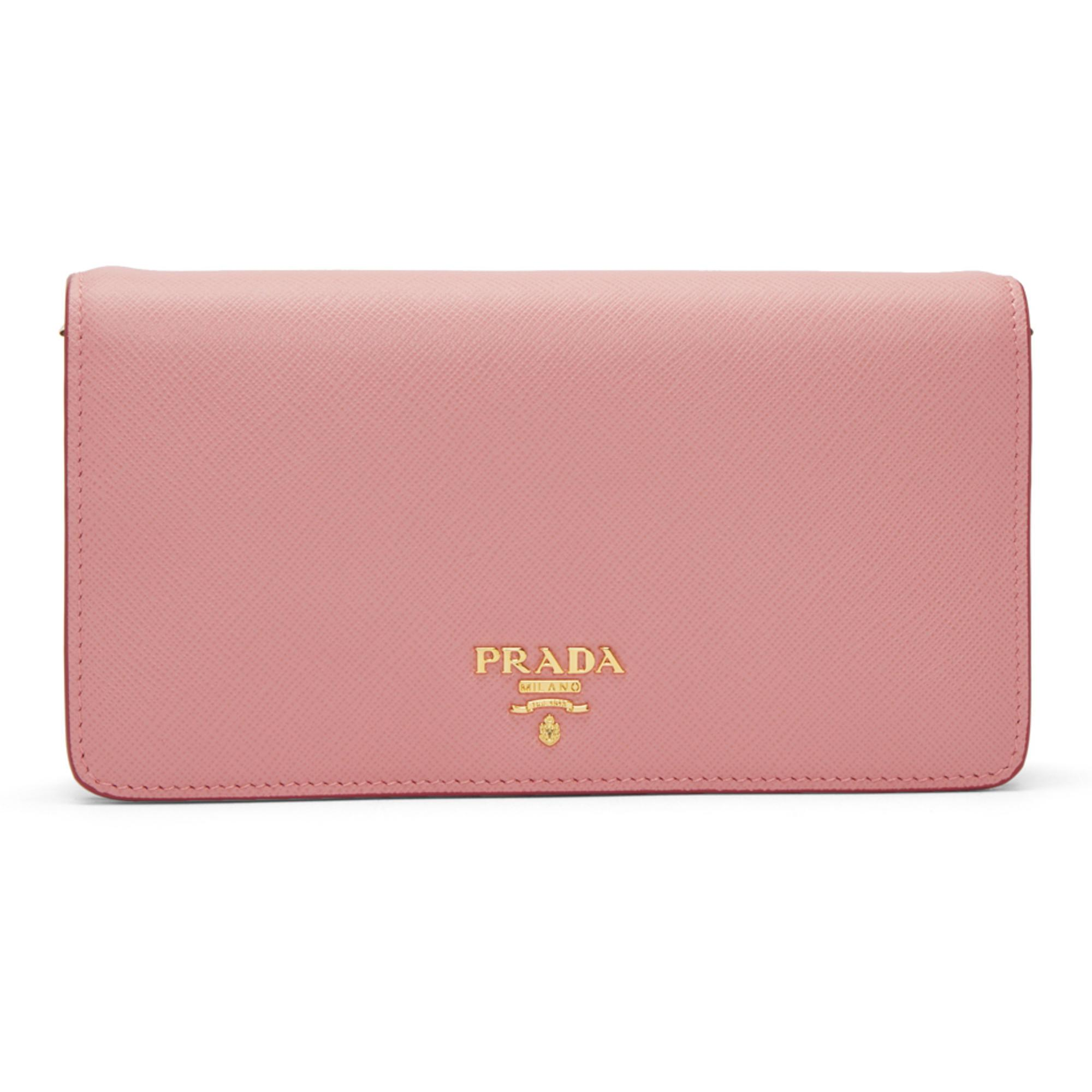0f8a3551b0ba ... top quality prada pink mini cellphone sleeve bag in pink lyst 561ff  2cf62
