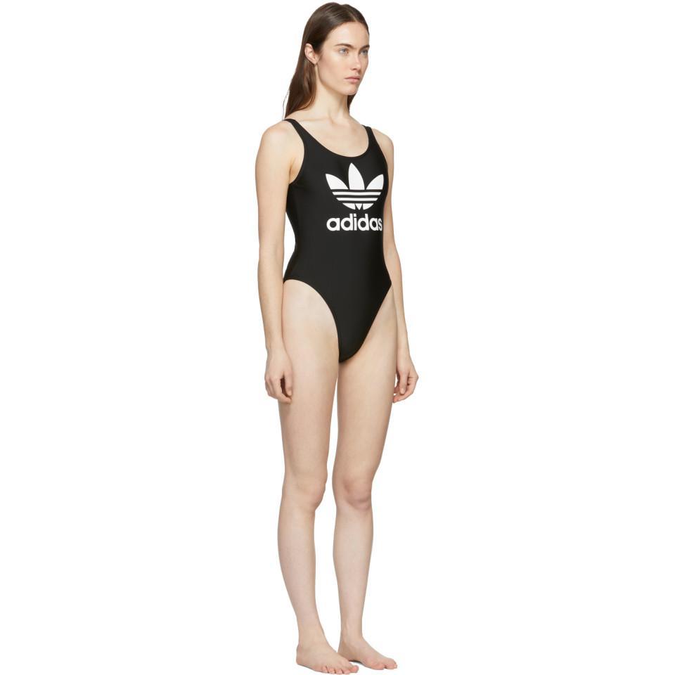 84e266101ace5 Lyst - adidas Originals Trefoil One Piece Swimsuit in Black - Save 53%