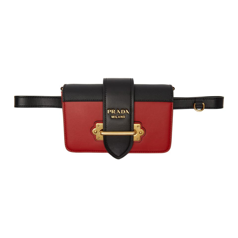 ad97576b6483 sweden prada. womens black and red cahier belt pouch 81bde ca165