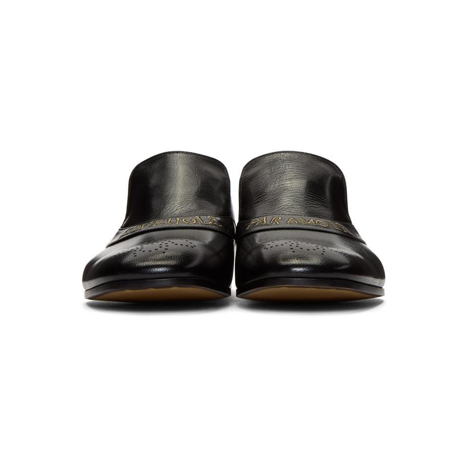 043d971d54e Lyst - Gucci Black  l aveugle Par Amour  Donnie Loafers in Black for Men