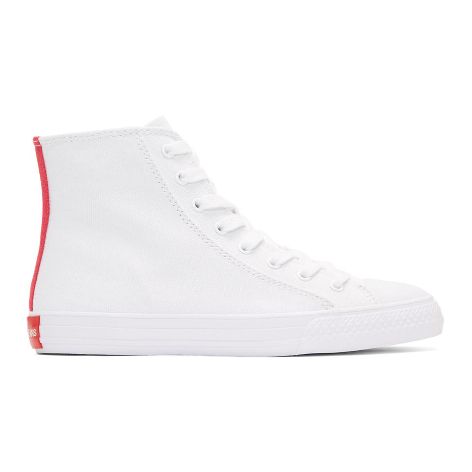 Calvin Klein 205W39NYC Off-White Canvas Emoji High-Top Sneakers cXewY