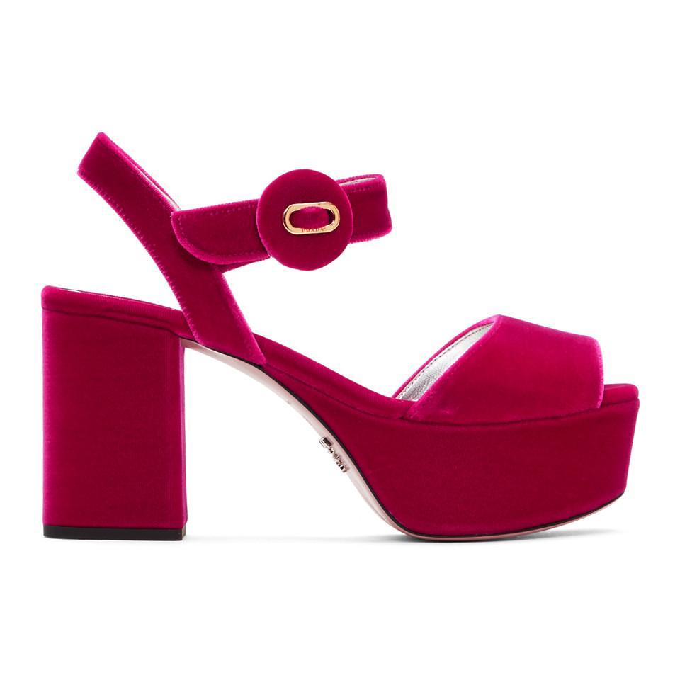 388ddddee Lyst - Prada Pink Velvet Platform Sandals in Pink