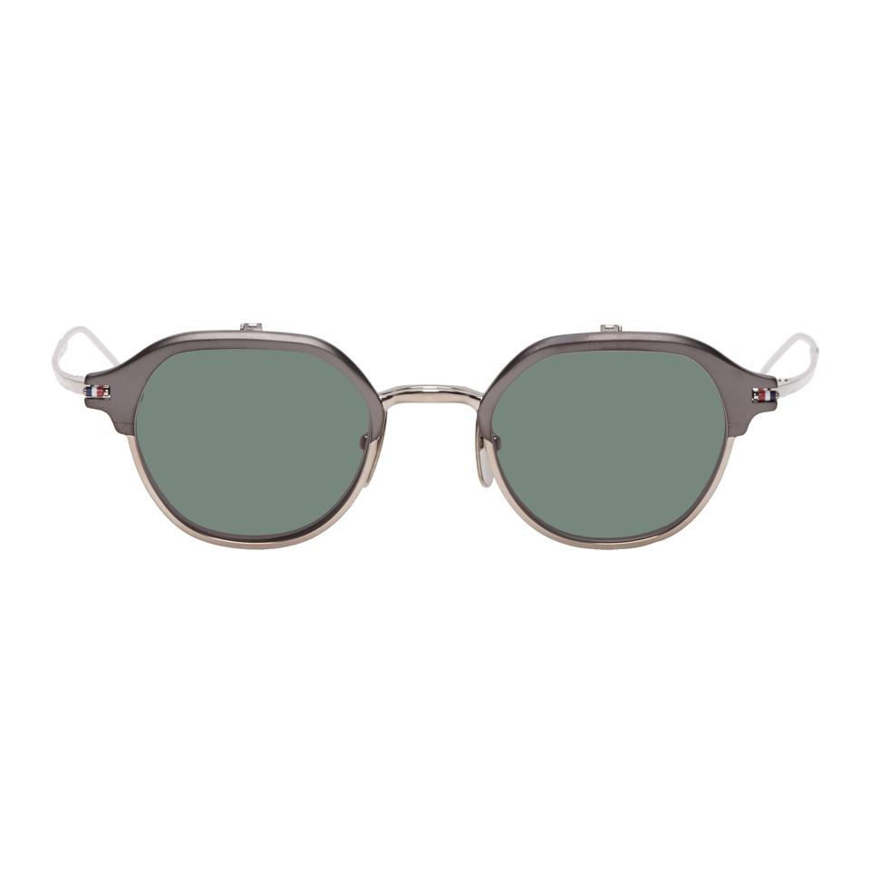 140c8e624f71 Lyst - Thom Browne Silver And Black Tbs812 Flip-up Sunglasses for Men