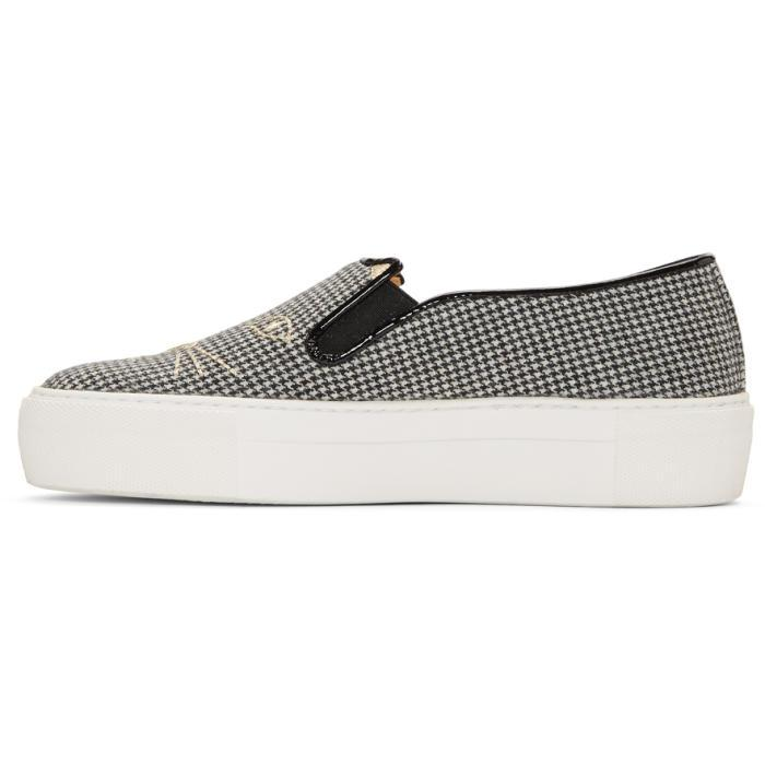 Manchester Great Sale Online Black and White Wool Cool Cats Slip-On Sneakers Charlotte Olympia Footlocker V6hUtSD1u