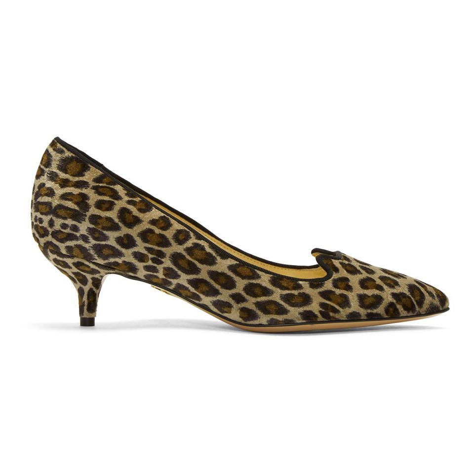 Charlotte Olympia Taupe Velvet Leopard Kitten Heels JtGrAKRPKO
