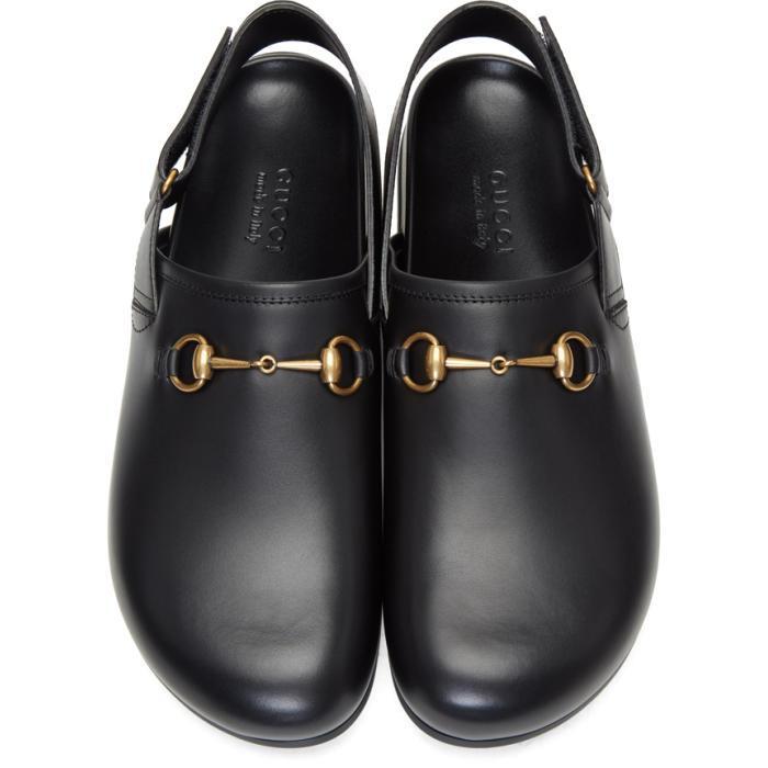 187542fb79f Lyst - Gucci Black Horsebit River Slippers in Black for Men