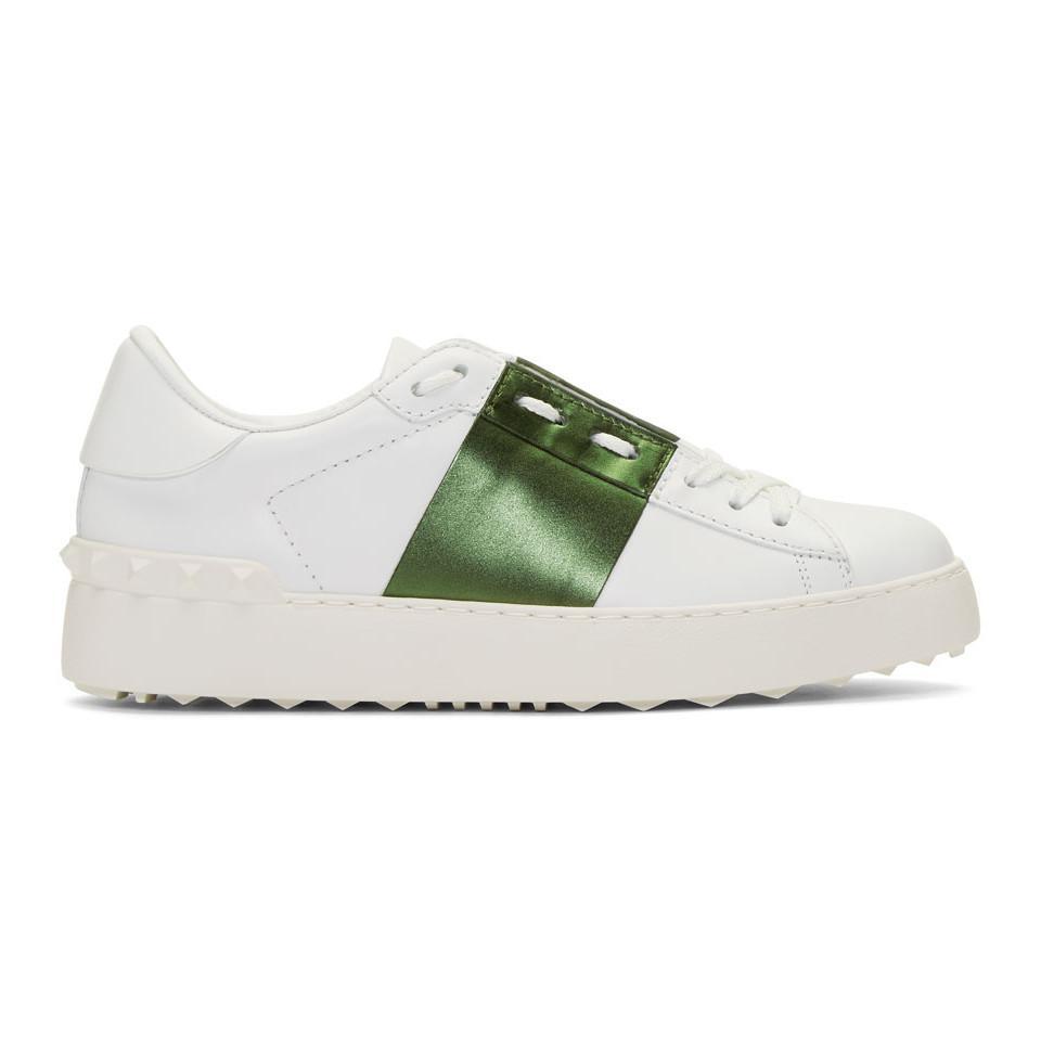 White and Khaki Valentino Garavani Rockstud Open Sneakers Valentino D4ECeDB32