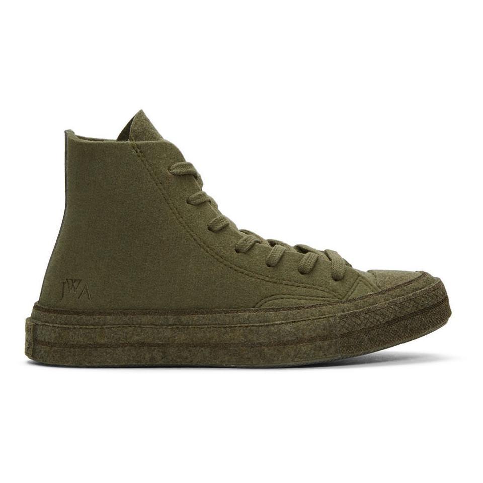 81bdc5e6ee5 JW Anderson. Men s Green Khaki Converse Edition Felt Chuck 70 Hi Sneakers